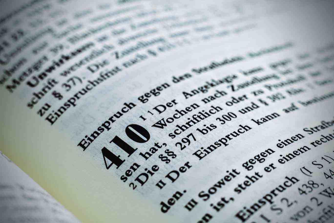 Strafbefehl § 410 StPO hier Gesetz Einspruch