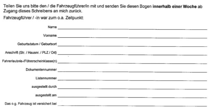 Fragebogen Polizei Halter Zeuge